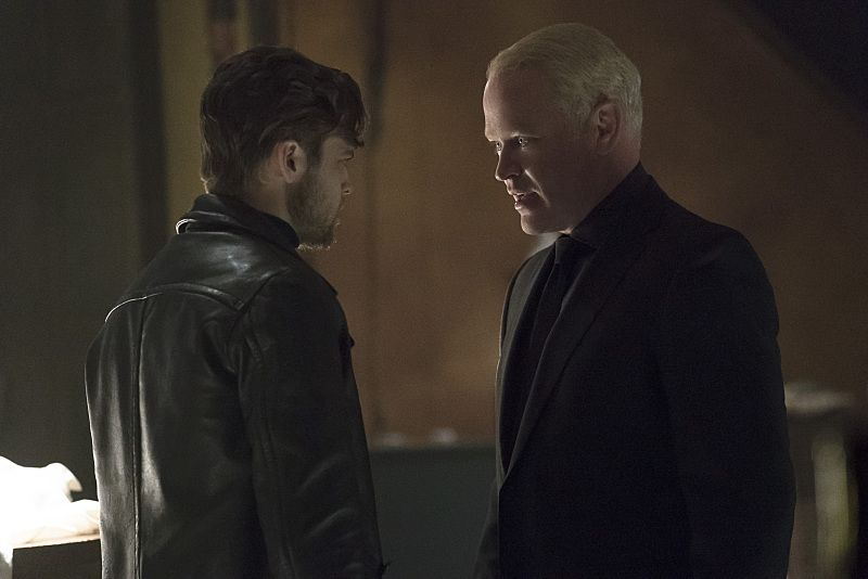 "Arrow -- ""The Candidate"" -- Image AR402A_0043b -- Pictured (L-R): Alexander Calvert as Lonnie Machin and Neal McDonough as Damien Darhk -- Photo: Katie Yu /The CW -- © 2015 The CW Network, LLC. All Rights Reserved."