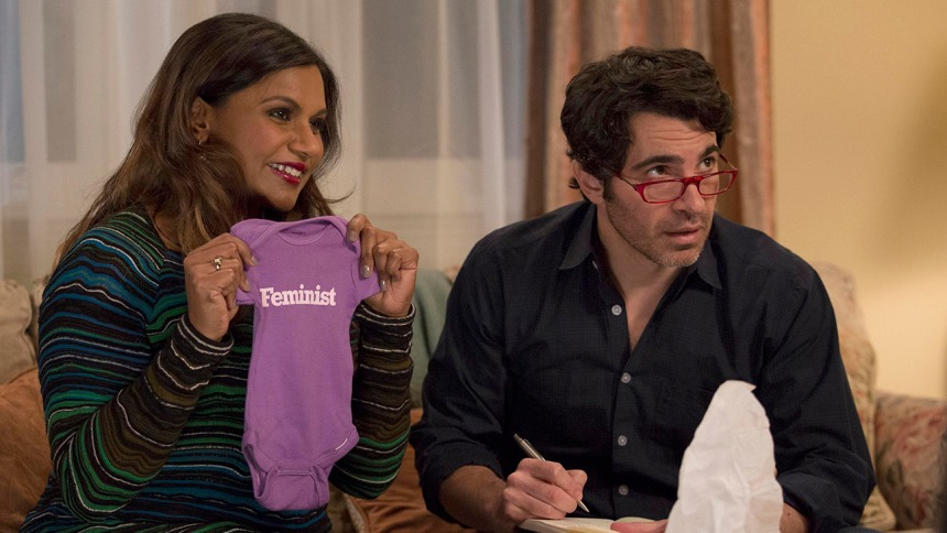 "THE MINDY PROJECT:   Danny (Chris Messina, R) helps Mindy (Mindy Kaling, L) open gifts at her baby shower in the season finale ""Best Man"" episode of THE MINDY PROJECT airing Tuesday, March 24 (9:30-10:00 PM ET/PT) on FOX.  ©2015 Fox Broadcasting Co.  Cr:  John P. Fleenor/FOX"