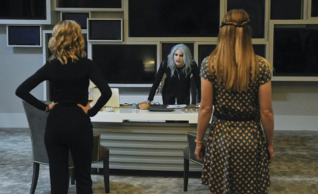 """""""Livewire"""" -- When an accident transforms a volatile CatCo employee into the villainous Livewire (Brit Morgan, center), she targets Cat (Calista Flockhart, left) and Supergirl (Melissa Benoist, right), on SUPERGIRL, Monday, Nov. 23 (8:00-9:00 PM, ET/PT) on the CBS Television Network. Photo: Darren Michaels/Warner Bros. Entertainment Inc. © 2015 WBEI. All rights reserved."""