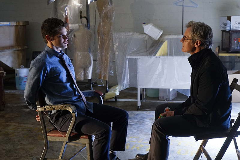 """Childish Things"" -- Kara does her best to support Winn (Jeremy Jordan, left) when his father, the supervillain Toyman, (Henry Czerny, right) breaks out of prison and seeks out his son for unknown reasons, on SUPERGIRL, Monday, Jan. 18 (8:00-9:00 PM, ET/PT) on the CBS Television Network. Photo: Robert Voets/CBS ©2015 CBS Broadcasting, Inc. All Rights Reserved"