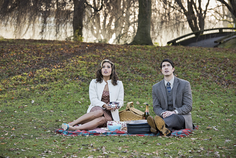 """DC's Legends of Tomorrow -- """"Left Behind"""" -- Image LGN109A_0067b.jpg -- Pictured (L-R): Ciara Renee as Kendra Saunders/Hawkgirl and Brandon Routh as Ray Palmer/Atom -- Photo: Dean Buscher/The CW -- © 2016 The CW Network, LLC. All Rights Reserved."""