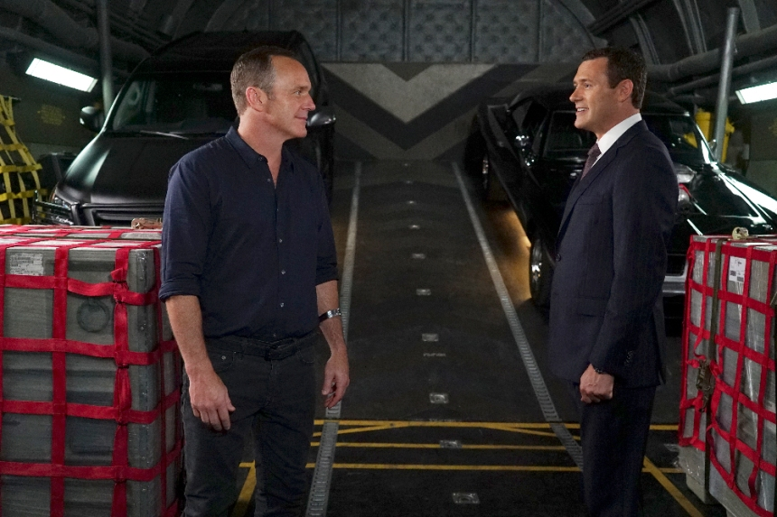"MARVEL'S AGENTS OF S.H.I.E.L.D. - ""The Good Samaritan"" - Robbie's shocking story on how he became Ghost Rider is finally discovered as Coulson and his team's lives hang in the balance, on ""Marvel's Agents of S.H.I.E.L.D.,"" TUESDAY, NOVEMBER 1 (10:00-11:00 p.m. EDT), on the ABC Television Network. (ABC/Eric McCandless) CLARK GREGG, JASON O'MARA"
